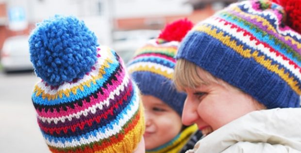 Colorful Scrappy Knitted Ski Hat Free Knitting Pattern