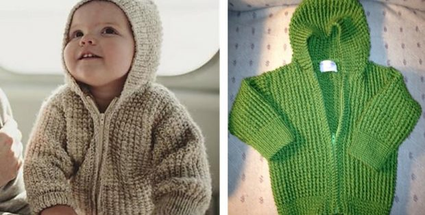 Seamless Knitted Baby Hoodie Free Knitting Pattern