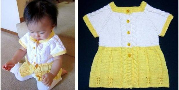 Seamless Knit Baby Sweater Dress Free Knitting Pattern
