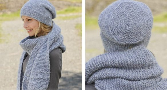 Serene Skies Knitted Scarf And Hat Free Knitting Pattern