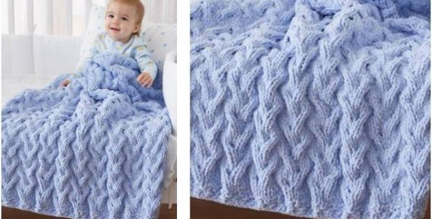 Knitting Pattern For Baby Blanket With Cable : Shadow Cable Knitted Baby Blanket [Free Knitting Pattern]