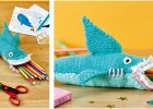 awesome shark knitted pencil case | the knitting space