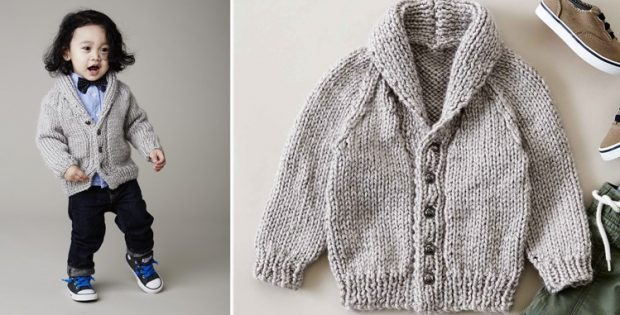 Shawl Collar Knitted Cardigan Free Knitting Pattern
