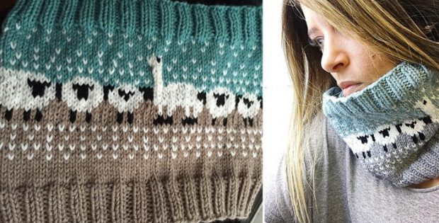 Sheep Knitted Neck Warmer [FREE Knitting Pattern]