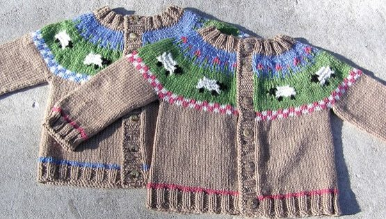 Sheep Yoke Knitted Baby Cardigan Free Knitting Pattern