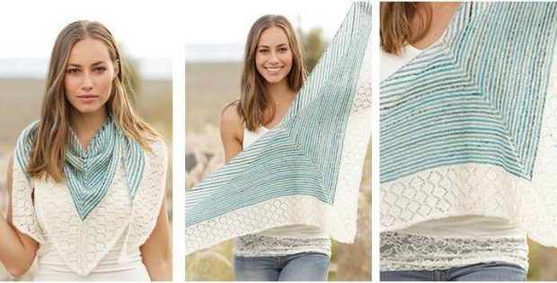 shifting tide striped knitted lace shawl | the knitting space