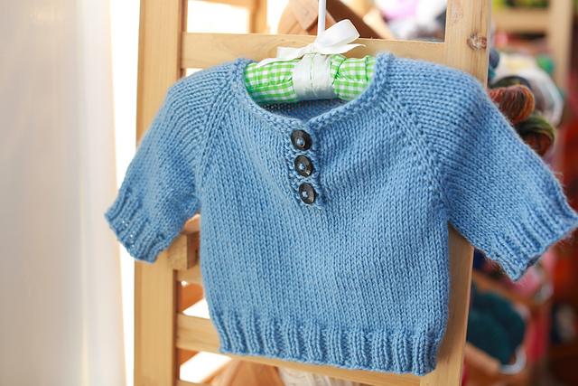 simple knitted baby pullover | the knitting space