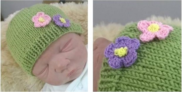 Simple Floral Knitted Baby Hat  FREE Knitting Pattern  0791aac9fd1