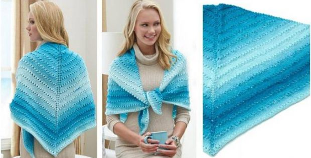 Simple Knit Lace Triangle Shawl [FREE Knitting Pattern + Video Tutorial]