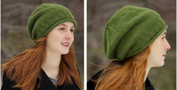 Simple Knitted Slouchy Hat Free Knitting Pattern