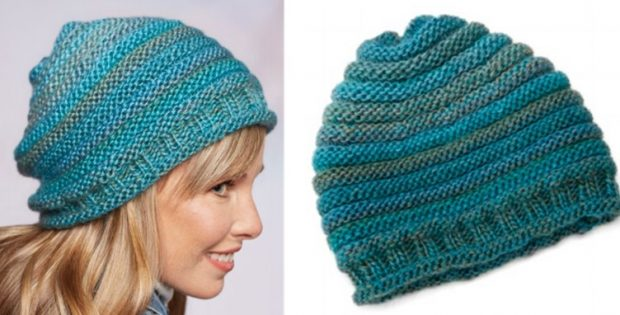 Simple Knitted Style Slouch Hat Free Knitting Pattern