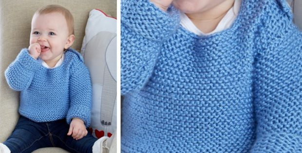 Simply Cute Knitted Baby Pullover Free Knitting Pattern