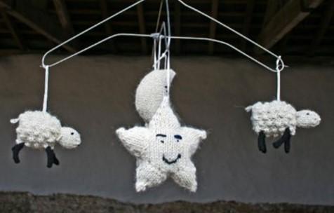 Knitted Sleepy Sheep Mobile Free Knitting Pattern
