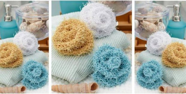 12fff35e5acf Small Rosebud Knitted Scrubby  FREE Knitting Pattern