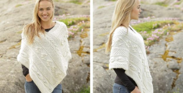 Snow Beads Knitted Poncho Free Knitting Pattern