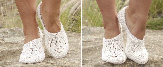 Snow Fairy Knitted Slippers Free Knitting Pattern