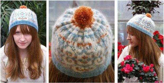 Snowflake Knitted Ribbed Hat Free Knitting Pattern