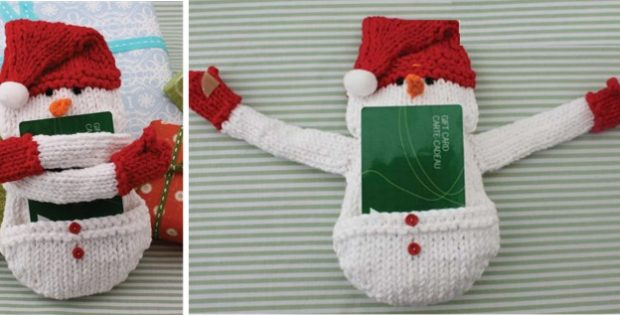 Snowman Knitted Gift Card Cozy Free Knitting Pattern