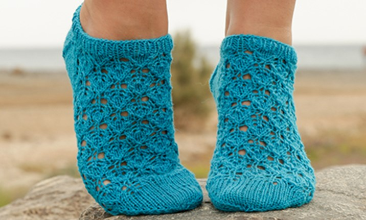 Knitted Ankle Socks Patterns Free : Splash Knitted Ankle Socks [FREE Knitting Pattern]