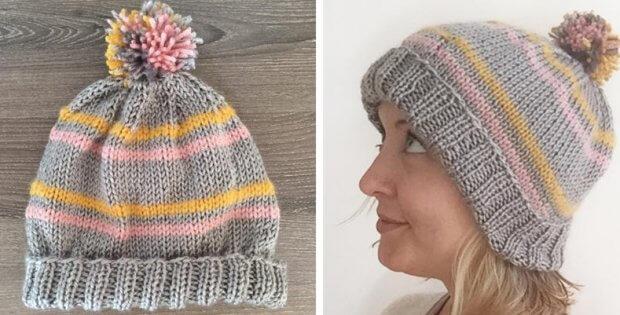 Knitted Striped Pom Pom Beanie Free Knitting Pattern
