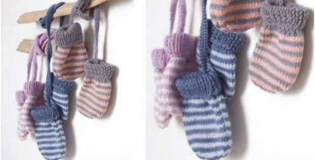 Striped Knitted Baby Mittens Free Knitting Pattern