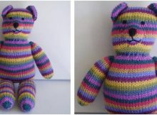 striped knitted teddy bear | the knitting space