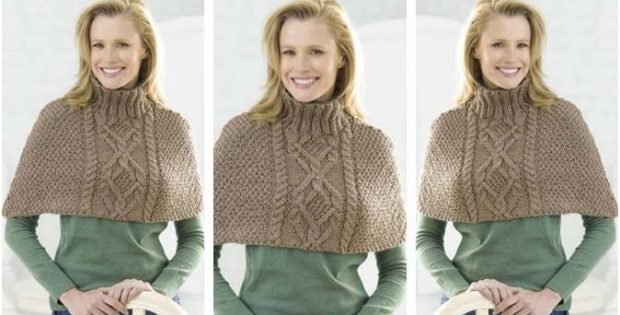 Stunning Knitted Cabled Poncho Free Knitting Pattern