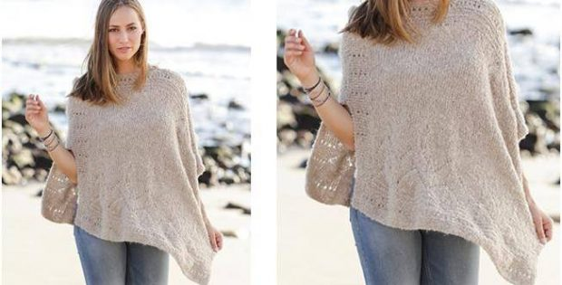 Stunning Knitted Lace Poncho Free Knitting Pattern