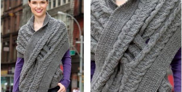 4cb41bf549ee Stylish Comfy Knitted Wrap  FREE Knitting Pattern