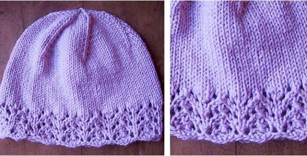 Stylish Knitted Lace Edged Hat Free Knitting Pattern