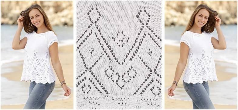 Summer Blouse Knitting Patterns : Summer swing knitted top free knitting pattern