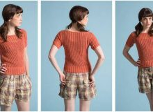 summery orange knitted tee | the knitting space