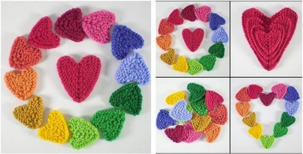 Sweet N Lovely Knitted Hearts Free Knitting Pattern