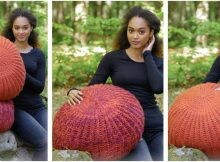 sweet pomodoro knitted pouffe | the knitting space