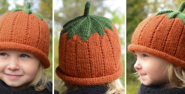 Sweet Pumpkin Knitted Hat Free Knitting Pattern