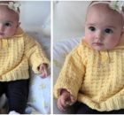 sweet waffle knitted baby polo sweater | the knitting space
