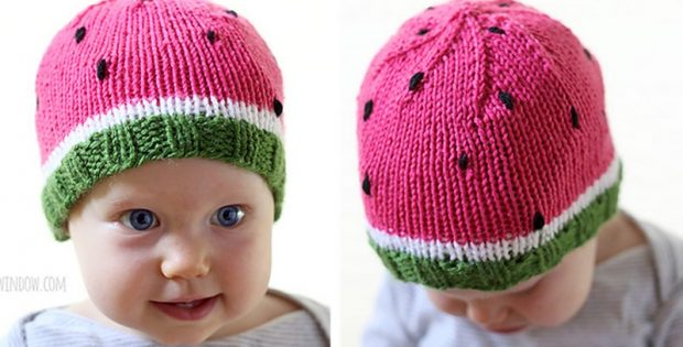 Sweet Watermelon Knitted Hat Free Knitting Pattern