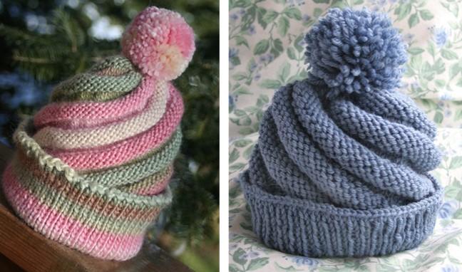 Fun Swirled Knitted Ski Cap Free Knitting Pattern