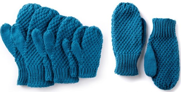 Textured Knitted Family Mittens Free Knitting Pattern