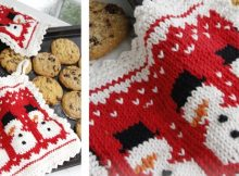 Three Little Snowmen knitted pot holders | the knitting space