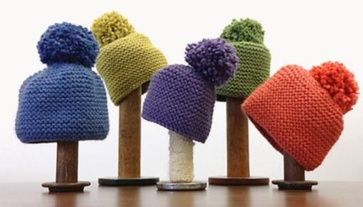 Toboggan Knitted Garter Stitch Hat Free Pattern