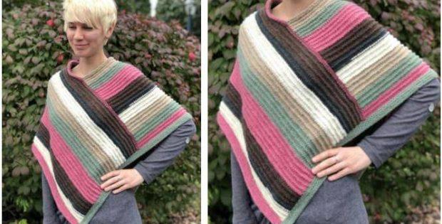 Elegant Hotcakes Knitted Poncho Free Knitting Pattern