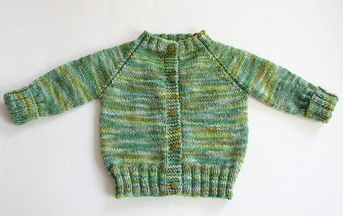 Top Down Knitted Raglan Baby Sweater Free Knitting Pattern