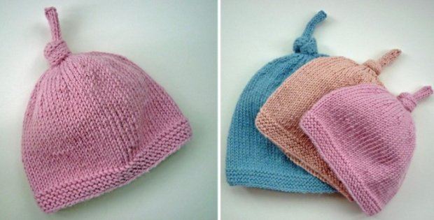 e79efb159446 Knitted Tegan Top Knot Baby Hat  FREE Knitting Pattern