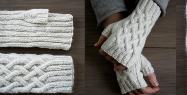 Knitted Traveling Cable Fingerless Gloves Free Pattern