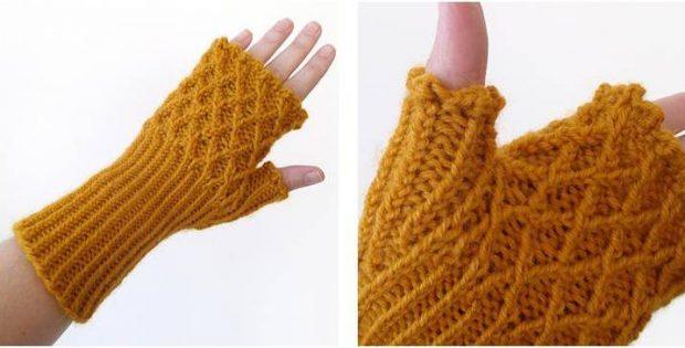 Trellis Knitted Fingerless Gloves [FREE Knitting Pattern]