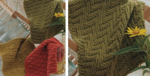 Textured Knitting : Knitted textured dishcloth trio free knitting pattern