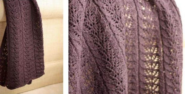 twin leaf knitted baby blanket | the knitting space