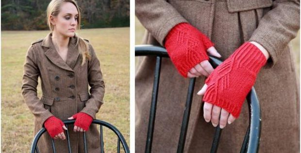 twisted stitch knitted mitts | the knitting space