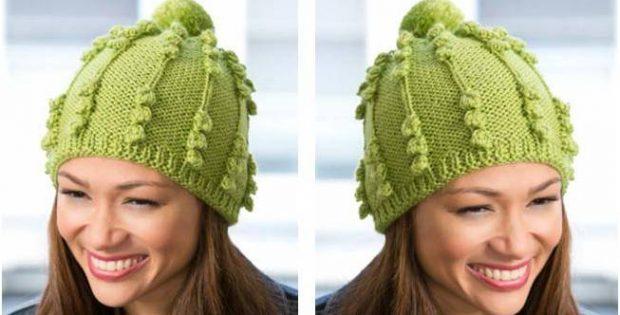 Ultra Cute Bobble Knitted Hat Free Knitting Pattern